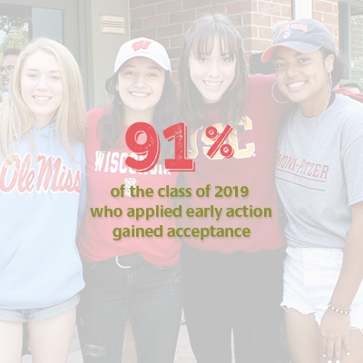 91 percent of the class of 2019 who applied early action gained acceptance